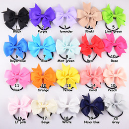 Wholesale Baby Hair Pony Tails - 8cm bow length Free Shipping! Baby Girls Elastic Hair Band,Pony Tail Holder Ribbon Pinwheel Bows Headband For Kids Hair Accessories