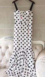Wholesale Show Ankle Length For Dresses - 2017 Runway Dresses for Women High Quality Luxury Runway Show White Black Polka Dot Pattern Elegant Vintage Style Dresses Mini Sleeveless