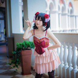 Wholesale Anime Wedding Dress Costume - Wholesale-Nico Yazawa Cosplay Lovelive   Love Live School Idol Project Wedding Dress Unawakened Pink White Costume