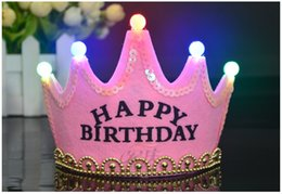 Wholesale Hat Birthday For Children - Led Crown Happy Birthday Cap For Adult Children Colorful Hat King Princess Luminous Led Birthday Tiaras Cap Hat Party Festival Decoration