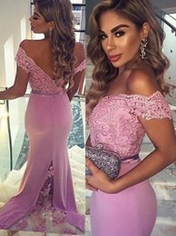 Wholesale Evening Gowns Lace Pink - 2016 Mermaid Evening Dresses Sexy Cap Sleeve Pink Lace Appliques Formal Gowns Lace Back Zipper Sweep Train Evening Dresses