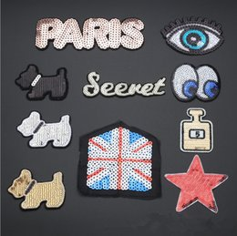 Wholesale Wholesale Embroidered Dog Patches - 2017 New Sequin Dog Paris Pattern embroidered patches for sewing Bag clothing patches iron on sewing accessories applique
