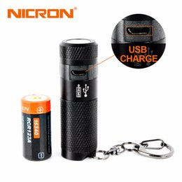 Wholesale Usb Mini Led Torch Keychain - Nicron 3w Mini Led Flashlight Keychain Torch Usb Light Waterproof Led Usb Rechargeable Lamp 3 Modes Torch Lamp For Hunting Black