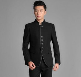 Wholesale Chinese Ties For Men - Wholesale-Chinese tunic suit men suit set latest coat pant designs dress suits for men wedding groom mens suits with pants + tie