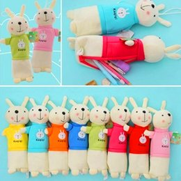 Wholesale Old Rabbit - Wholesale-new cartoon Lovely rabbit pen bag South Korean students creative plush multi-functional stationery pen bag wholesale pen bag