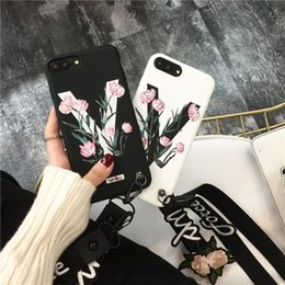 Wholesale Cases For Iphone Cross - Luxury Soft TPU Cover Christian Cross Shockproof Hand Neck Strap Anti-Slip Cartoon Bear Flower Letter Back Cover Case For Iphone 8 7 6S Plus