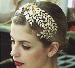 Wholesale Gold Leaves Hairband - New Fashion Head Jewelry Headwear golden Leaves Headband Hair Accessory Women Hairband with comb Wedding Hair Jewelry