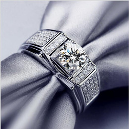 Wholesale Gold Stone Ring For Men - Eternity 10KT white gold filled Round Simulated Diamond Zircon Side Stone Unisex Ring Fashion Wedding Jewelry For Men Size 8,9,10,11,12,13