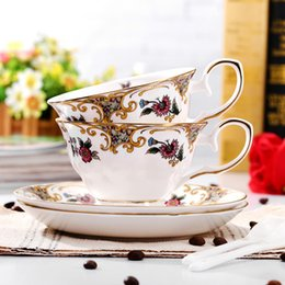 Wholesale China Glaze Sets - Fine bone china coffee cup & Tea cup with saucer in Sets European Noble Style weddinig gift Enchanting Mount Fuji B16