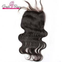 Wholesale Top Hair Hairpieces - 100% Unprocessed Peruvian Virgin Human Hair Extensions Natural Color Body Wave Retail 1 piece Lace Top Closure 4*4 Hairpieces Greatremy Sale