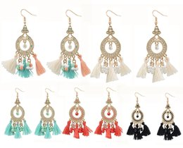 Wholesale Tassel Bead Earrings - 5 Style Bohemian Beads Tassel Dangle Metal Crystal Fringe Earring Tiered Long Tassel Hook Earrings For Girls B670L