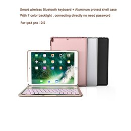 Wholesale China Aluminum Cases - Aluminum Keyboard Cover Case with 7 Colors Backlight Backlit Wireless Bluetooth Keyboard lithium Battery For ipad pro 10.5 with Retail box