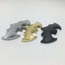 Wholesale Cool Emblems - 3D Cool Metal Bat Auto Logo Car Stickers Batman Badge Emblem Tail Decal Motorcyle Car Accessories
