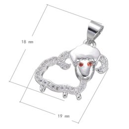 Wholesale Brass Sheep - 2016 Hot Sale Brass Jewelry Cubic Zirconia Micro Inlay Pendant Sheep-shape Platinum Plated & Hollow 18x19mm Hole:About 3.4mm 10 PCS Lot