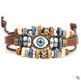 Wholesale Wooden Clasps For Jewelry - Vintage Retro Pulseira Masculina Multi-layer Wooden Beads Evil Eye Charm Hand Woven Leather Bracelets for Women Fashion Jewelry