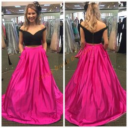 Wholesale Images Gold Rings - 2016 Prom Dresses Crop Top with Off Shoulder and Zipper Back Real Picture Black & Fuchsia Ring Dance Gowns with Pockets Custom Made