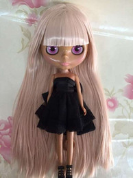 Wholesale Nude Ship Girls - Wholesale-Free shipping cost Nude blyth Doll pink hair black skin Factory doll Suitable For DIY Change BJD Toy For Girls