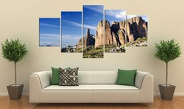 Wholesale Ground Pictures - Unframed 5 pieces Free Shipping Canvas Prints mountain forest brook grassland flower rays sunset glow sea wave sandy beach tree dry ground