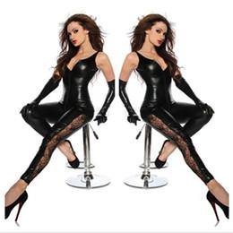 3273804262 Atacado-Faux Leather Virilha Zipper Catsuit Preto Sexy Spandex Catsuit  Látex Mulheres Clubwear Hot Lingerie Fetiche Rendas Perna Bodysuit Traje