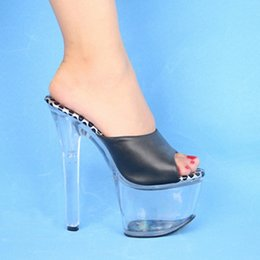 Wholesale Sexy Red Sandals Low Heel - Stripper Shoes Free Postage Fees 17cm High-Heeled Shoes Lady Platform Crystal Sandals Low Price Sexy Clubbing 6 Inch High Heels