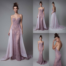 Wholesale Short Sexy Nude Crystal Dress - Berta 2017 Lavender Evening Dresses Backless Luxury Crystal Illusion Beads Mermaid Prom Gowns With Detachable Train Sheer Neck Party Dress