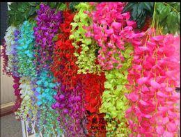 Wholesale Craft Wreaths Wholesale - Wisteria Garland Silk Flower Vine Wedding Party Decorations Silk Flower Artificial Home Decor Simulation Garland Craft Ornament wreath