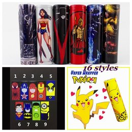 Wholesale Wonder Woman Wholesale - Superhero Hulk Pikachu Wonder Woman Spartacus Lich King 18650 Battery PVC Skin Sticker Vaper Wrapper Cover Sleeve Heat Shrink Wrap Vape DHL