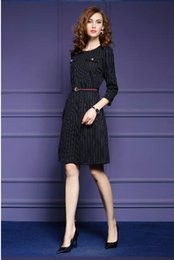 Wholesale Cotton Twill Skirts - fashion style women dress autumn striped dress fashion belt seven sleeve A word skirt elegant slim skirt