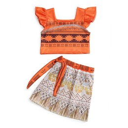 Wholesale Fly Sets - MOANA Girls Childrens Dresses two-piece set Cartoon Princess Dress for Girls Clothing Fashion scallop fly Sleeves Girl Kids Dress