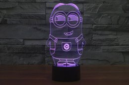 Wholesale Minion Lights - 2017 minions Style 3D Night Lamp Optical Night Light 10 LEDs Night Light DC 5V Factory Wholesale