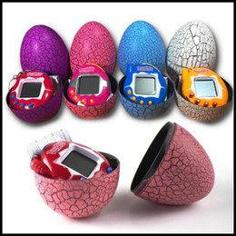 Wholesale Egg Keychain - Tamagotchi Electronic Pet Machine Keyring Pendant With Crack Egg Puzzle Game Consoles Kids Keychain Electronic Pet Toys CCA8241 150pcs