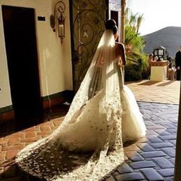 Wholesale Muslim Dresses For Weddings - New Long White Ivory Wedding Veil Lace Edge chape Bridal Veil With Comb Amazing For Wedding Dresses
