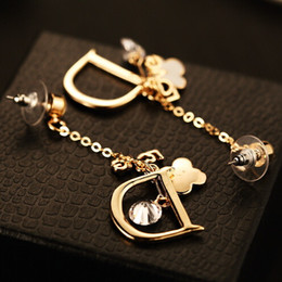 Wholesale Enamel Flower Drop Earrings - Hot Sale Long Earrings Women Fashion Party Jewelry Round Crystal Enamel Flower Letter Earrings Korean Gold Plated Drop Dangle Earrings