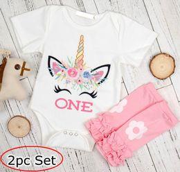 "Wholesale Long Infant Socks - ins xmas infant baby unicorn white rompers & girls flower leg warmers socks baby ""One"" Letter print jumpsuits romper 0-2year free ship"