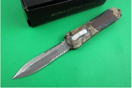 Wholesale Damascus Hunting - self defense MTAUTOTF digital a163 A163 damascus blade 4 models double action Hunting automatic Pocket Knife Xmas gift for men 1pcs