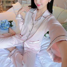 Wholesale Ladies Pajamas Pants - Wholesale- Winter Warm Sexy Ladies Long Sleeve Satin Pajamas Tops Pants Sleepwear Nightwear Loungewear For Gift