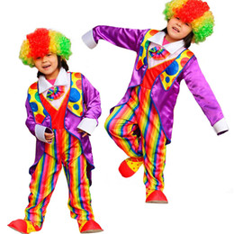 Wholesale Party Supplies Clown - Colorful Kids Tuxedo Circus Clown Cosplay Costume For Children Stage Performance Clothing Set Halloween Party Supplies New Year