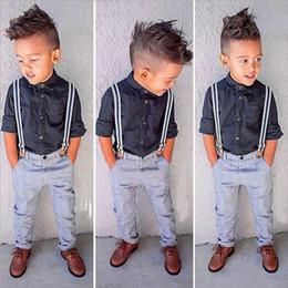 Wholesale Kid Boy Denim Shirt Wholesale - Children Clothing Sets Kids Clothes Suits Baby Boys Gentleman T shirt Braces Jeans 2PCS Sets Hight Quality Clothing Wholesale