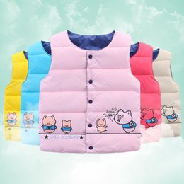 Wholesale Cute Red Winter Coats - 2016 Autumn Kids Girls Waistcoat Down Coat Baby girl boy Vests children outwear Cartoon Cute Pig Warm Comfortable Autumn Winter