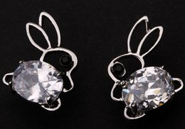 Wholesale Nose Studs Rabbit - Bunny rabbit stud earrings W  CZ Cubic Zirconia summer jewelry silver tone easter charm FX02