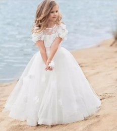 Wholesale Girl Short Flowers - Romantic Beach Flower Girl Dresses With Handmade Flowers For Weddins Short Sleeves First Communion Dresses With Sashes Baby Party frocks