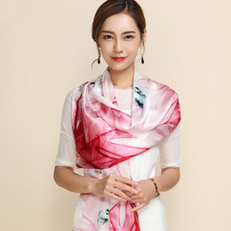Wholesale Scarves Round Women - Women Scarves 100% Mulberry Silk Satin Face Scarf Varied Chinese style Printing Shawl Year round wearable 26 colors optional 172*55cm