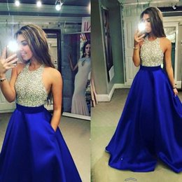 Wholesale Green Bodice Top - 2017 New Royal Blue Backless Satin Prom Dresses Blingbling Halter Beaded Top Bodice A Line Floor Length Party Evening Dresses