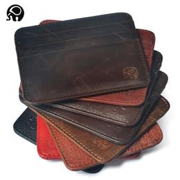 Wholesale Bus Bank - Wholesale- men Wallet Business Card Holder bank cardholder leather cow pickup package bus card holder Slim leather multi-card-bit pack bag