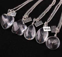 Wholesale Oval Crystals - Fashion Real Natural Dandelion Seed Crystal Glass Ball Necklace Oval Glass Pendant Necklace Make A Wish Glass Bead Jewelry aa606