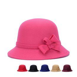Wholesale Red Fascinator Hats - Vintage Girls Ladies top fashion Fascinator Bowknot Floppy Stingy Brim Hats Cute Caps Blend Felt Trilby Bowler Hat Christmas gift