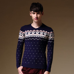 Wholesale New Design Sweater For Men - Wholesale-2016 Winter New Men's Casual Sweaters Knitted Wear Pullovers For Men Geometric Ethnic Pattern Fashion Designed Male Wear Fitness