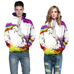 Wholesale Horses Sweater Women - Lovers Fashion Hoodies Sweatshirts Pullover Long Sleeve 3D Printing Horned Horse Painting Sweater Fall Winter Clothing Loose Free Shipping