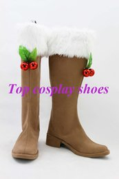 Wholesale Vocaloid Cosplay Custom - Wholesale-Freeshipping Vocaloid Snow Miku Cosplay Boots Shoes #00866527 custom-made Halloween Christmas festival