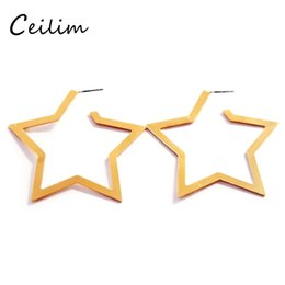Wholesale Hoop Wire - Fashion Jewelry Geometric Pentagram Big Wire Hoop Earrings Fashion High Quality Alloy Earrings Wholesaler gold & silver color ring ear rings